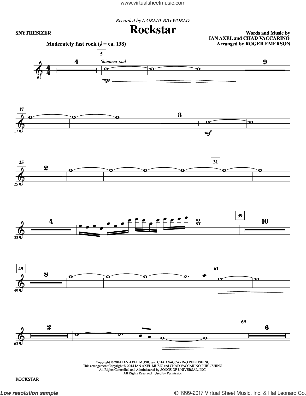 Rockstar (complete set of parts) sheet music for orchestra/band by Roger Emerson, A Great Big World, Chad Vaccarino and Ian Axel, intermediate skill level
