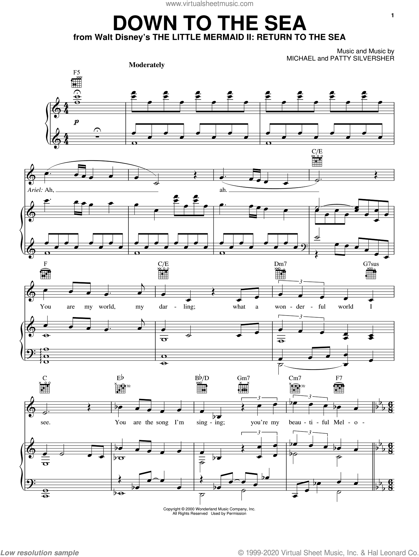 Down To The Sea sheet music for voice, piano or guitar by Patty Silversher