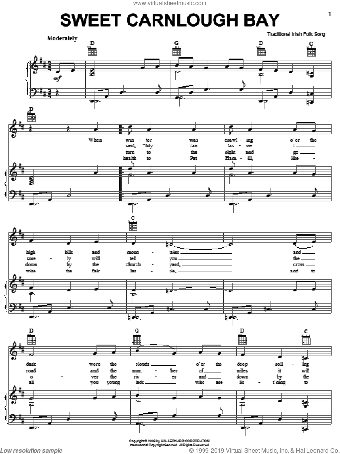 Sweet Carnloch Bay sheet music for voice, piano or guitar, intermediate skill level