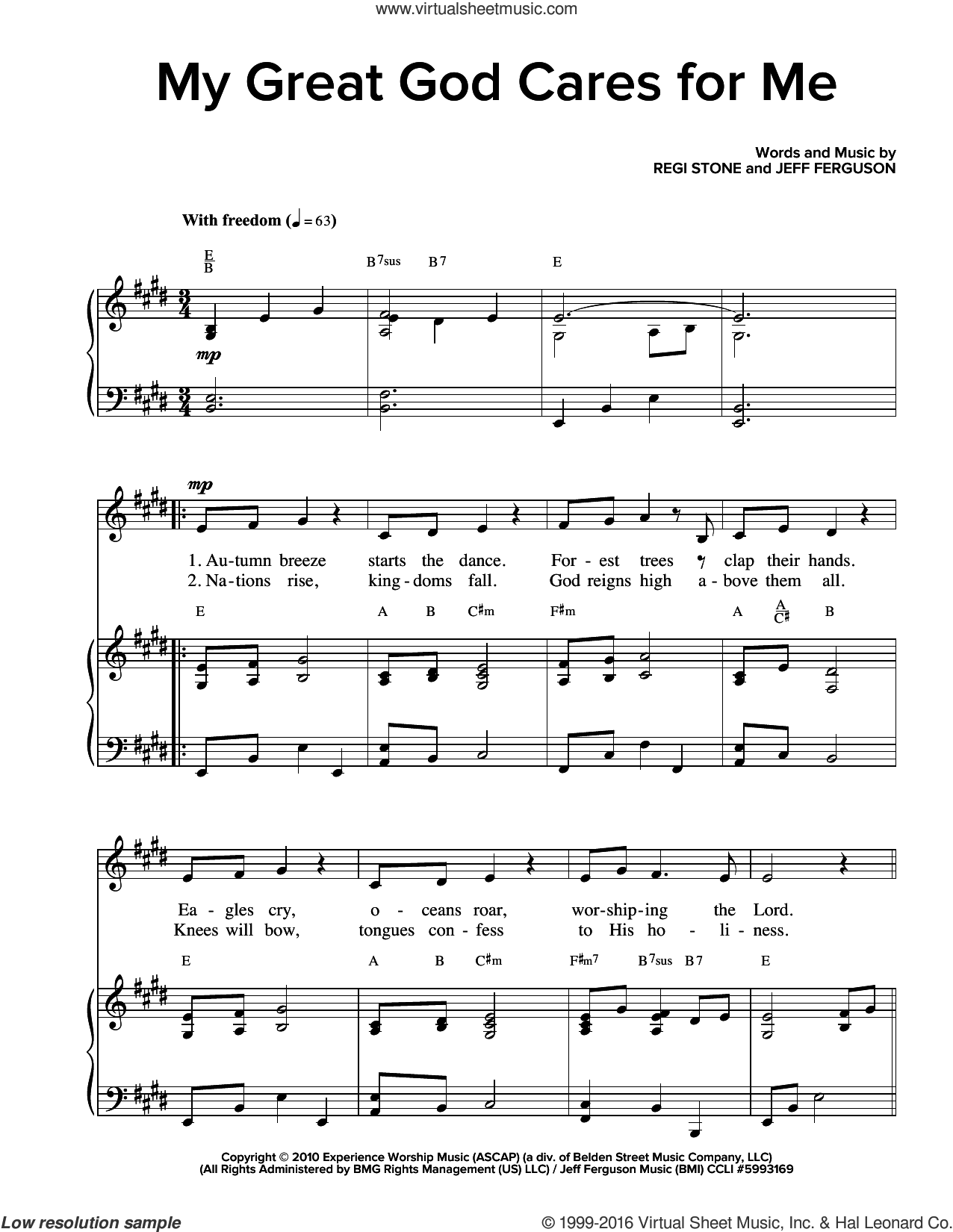 My Great God Cares For Me sheet music for voice and piano , Jeff Ferguson and Regi Stone, intermediate skill level