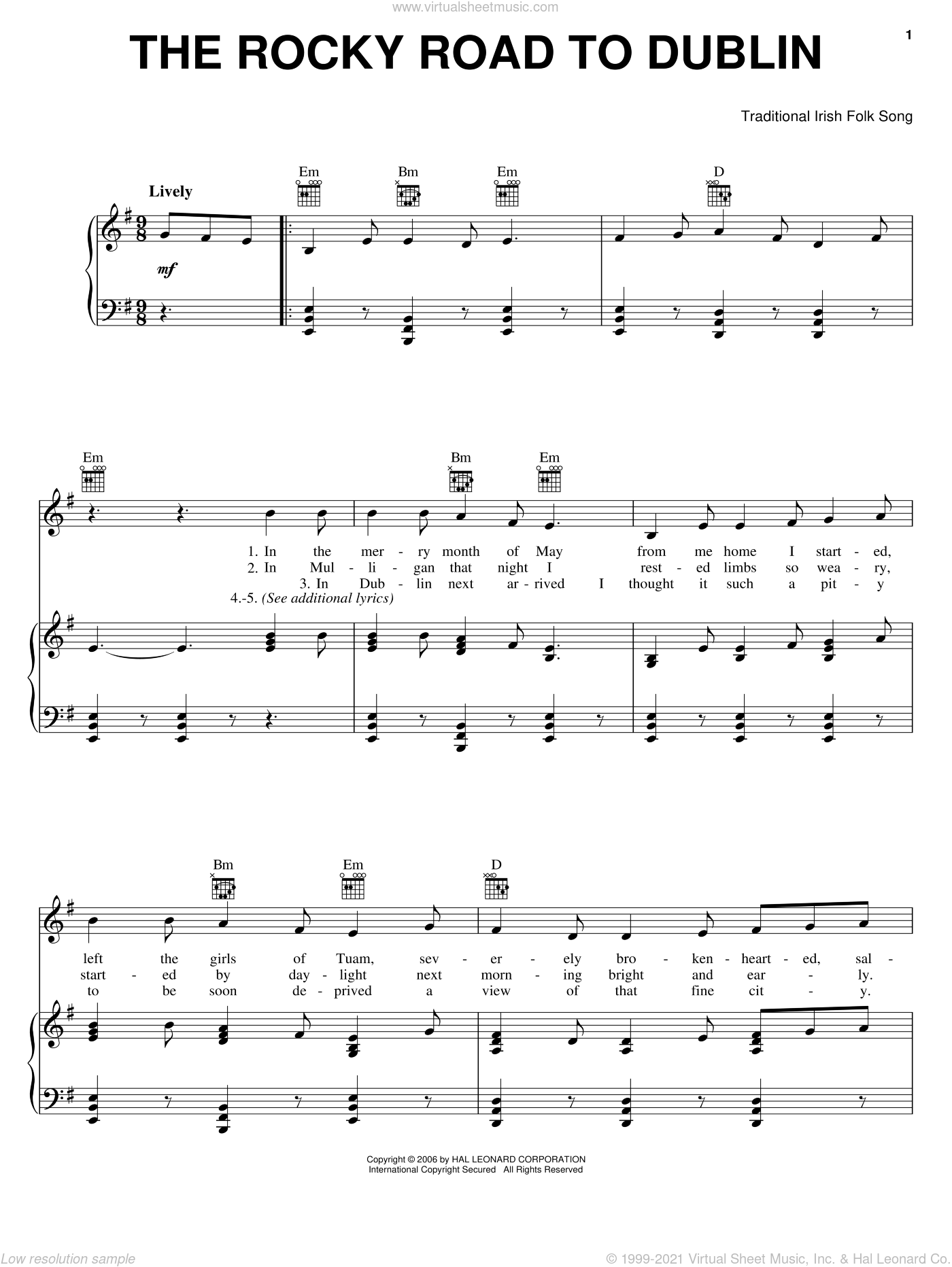 The Rocky Road To Dublin sheet music for voice, piano or guitar. Score Image Preview.
