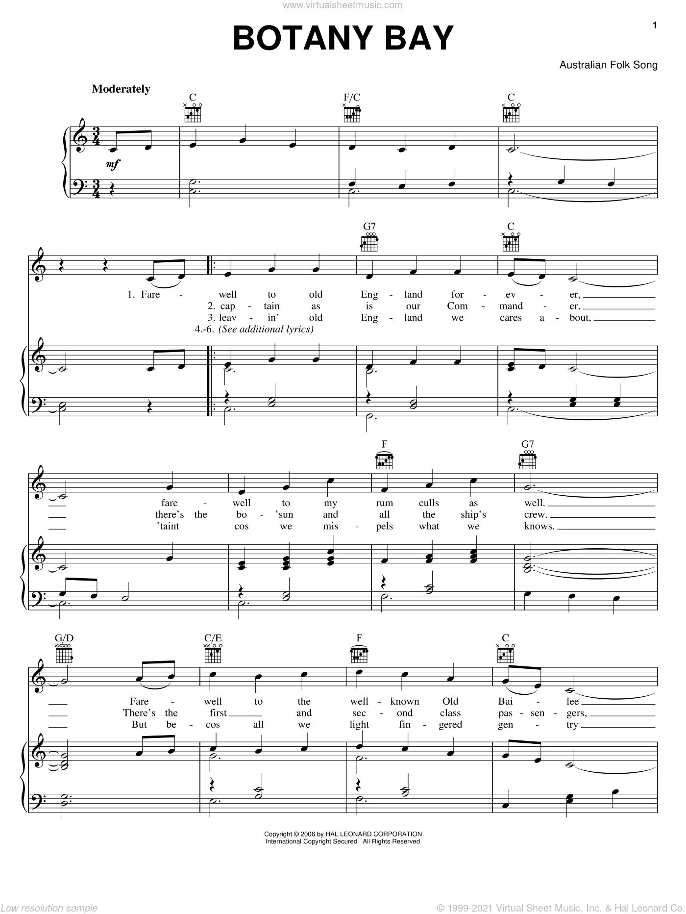 Botany Bay sheet music for voice, piano or guitar, intermediate skill level