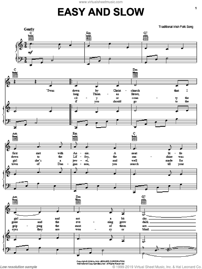 Easy And Slow sheet music for voice, piano or guitar, intermediate skill level