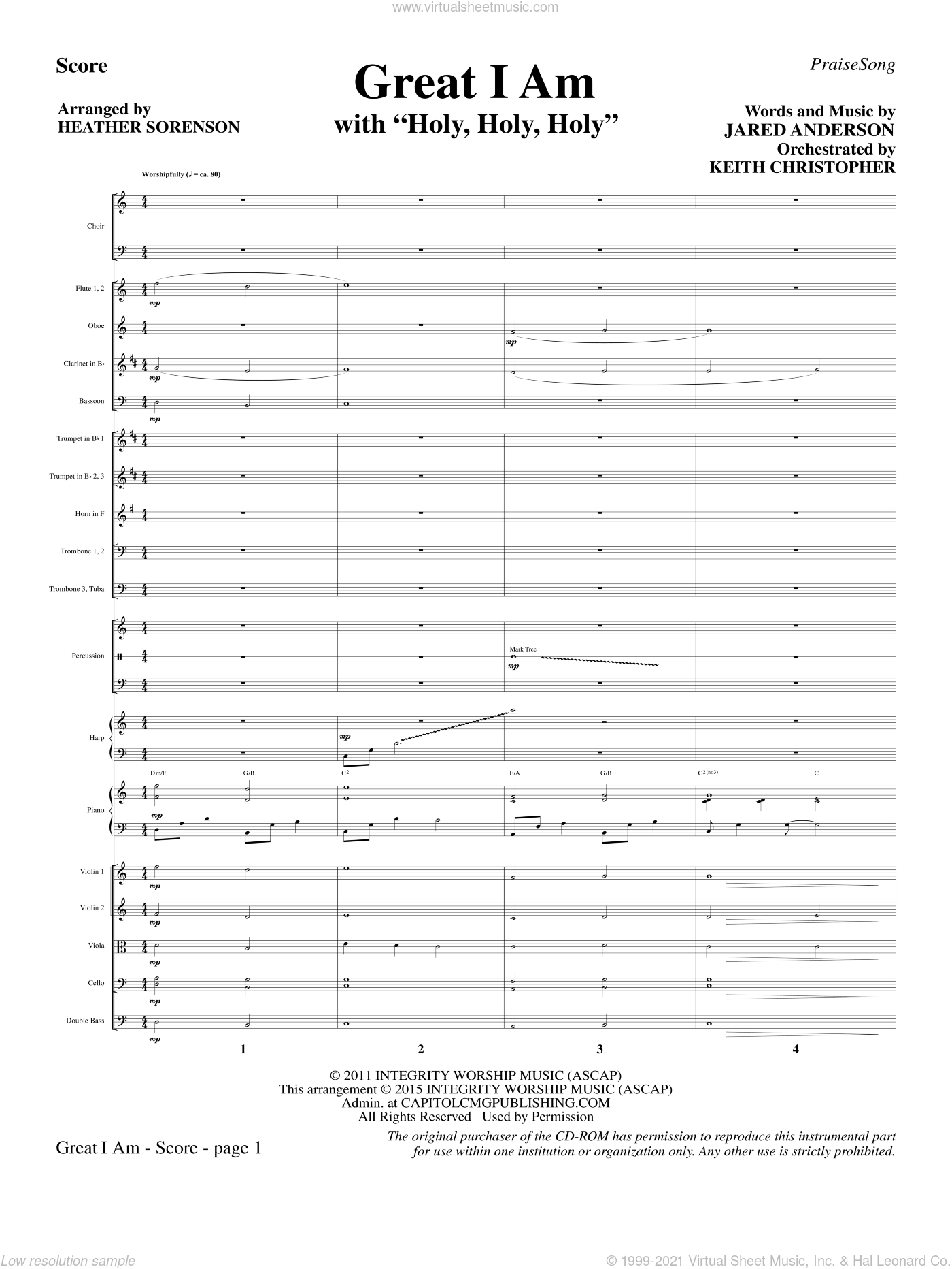 Great I Am sheet music for orchestra/band (full score) by Jared Anderson and Heather Sorenson. Score Image Preview.