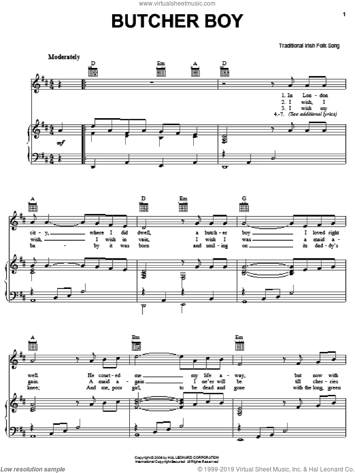 Butcher Boy sheet music for voice, piano or guitar. Score Image Preview.