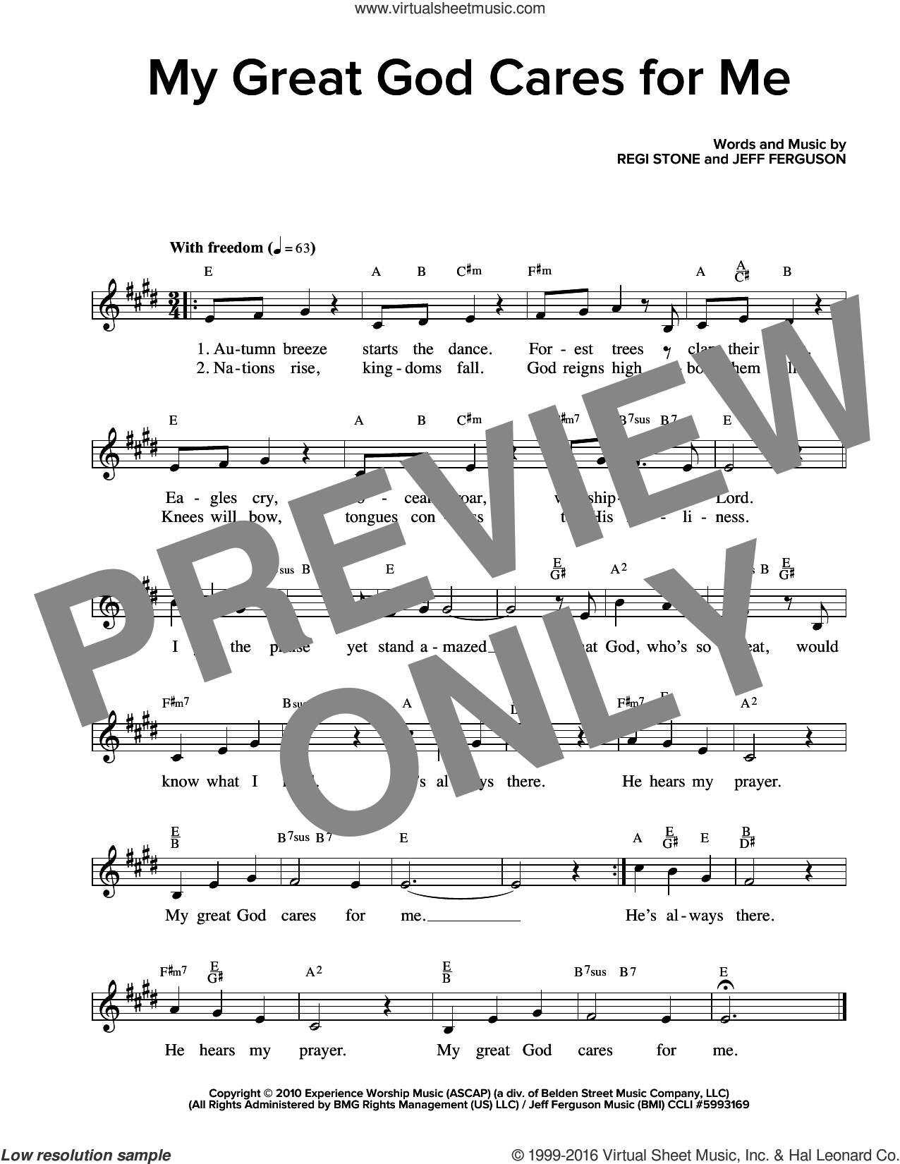 My Great God Cares For Me sheet music for voice and other instruments (fake book) , Jeff Ferguson and Regi Stone, intermediate skill level