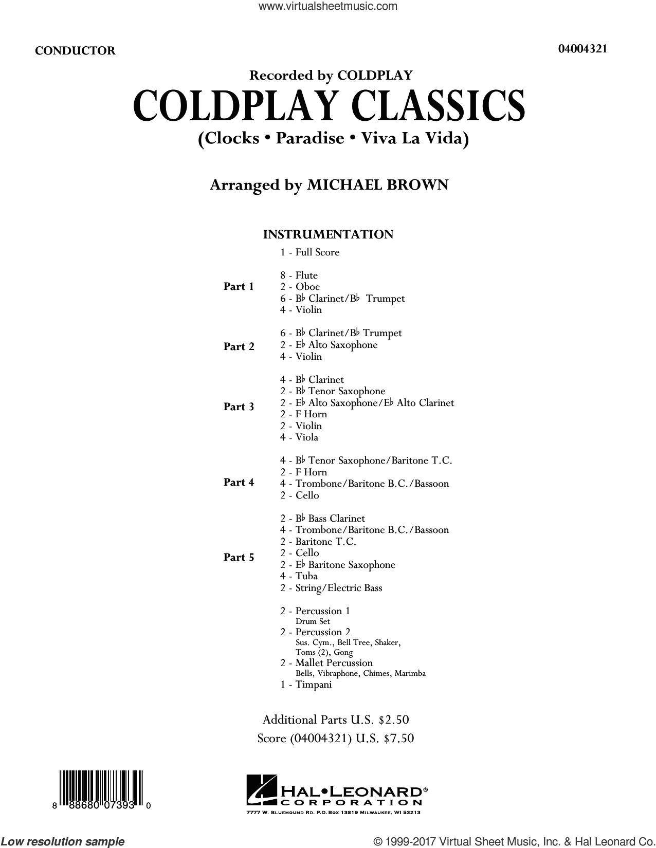 Coldplay Classics (COMPLETE) sheet music for concert band by Coldplay and Michael Brown, intermediate skill level