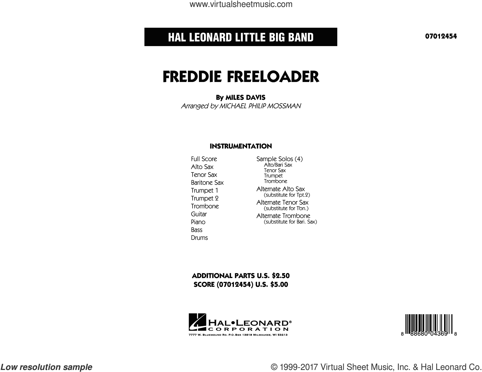 Freddie Freeloader (COMPLETE) sheet music for jazz band by Miles Davis and Michael Philip Mossman, intermediate skill level