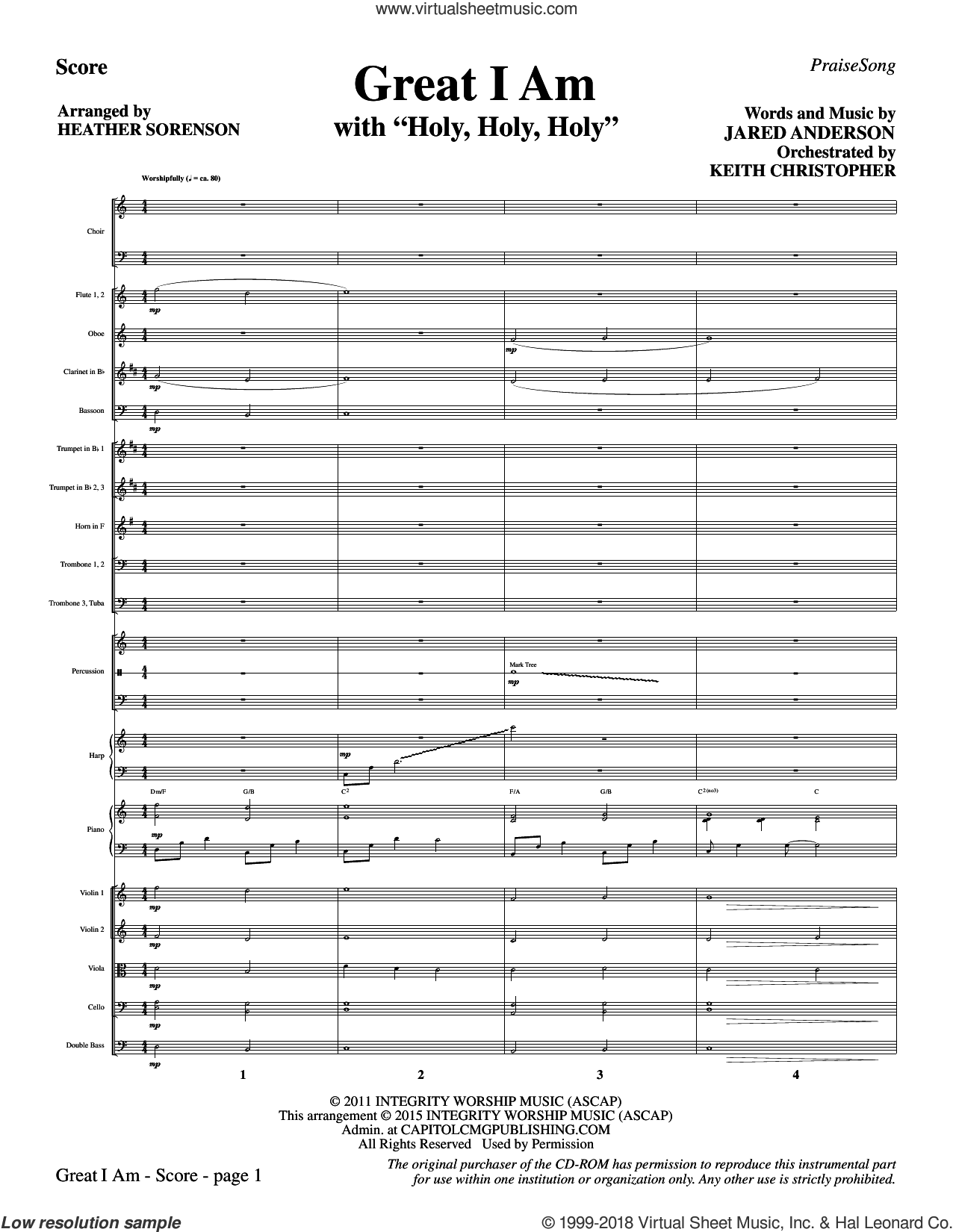 Great I Am (COMPLETE) sheet music for orchestra/band by Heather Sorenson and Jared Anderson, intermediate
