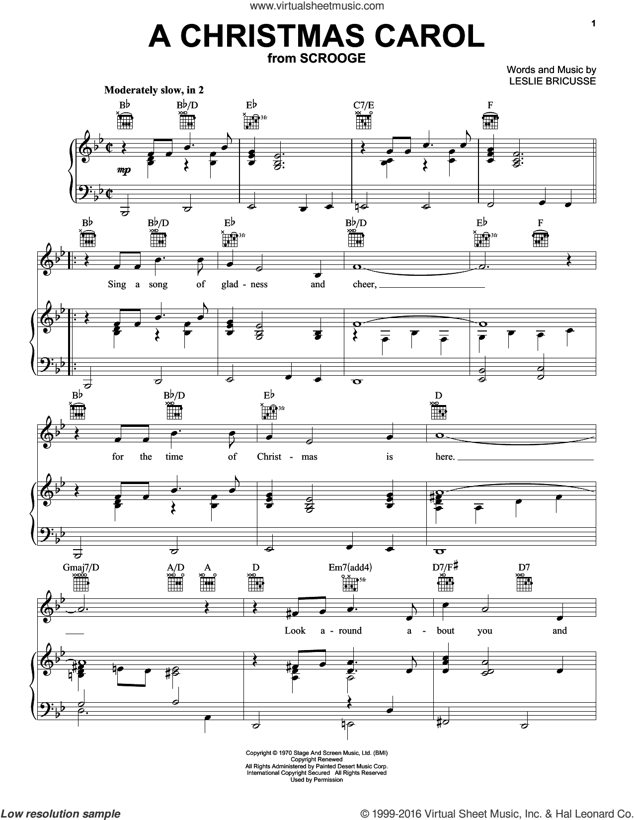A Christmas Carol sheet music for voice, piano or guitar by Leslie Bricusse, intermediate skill level