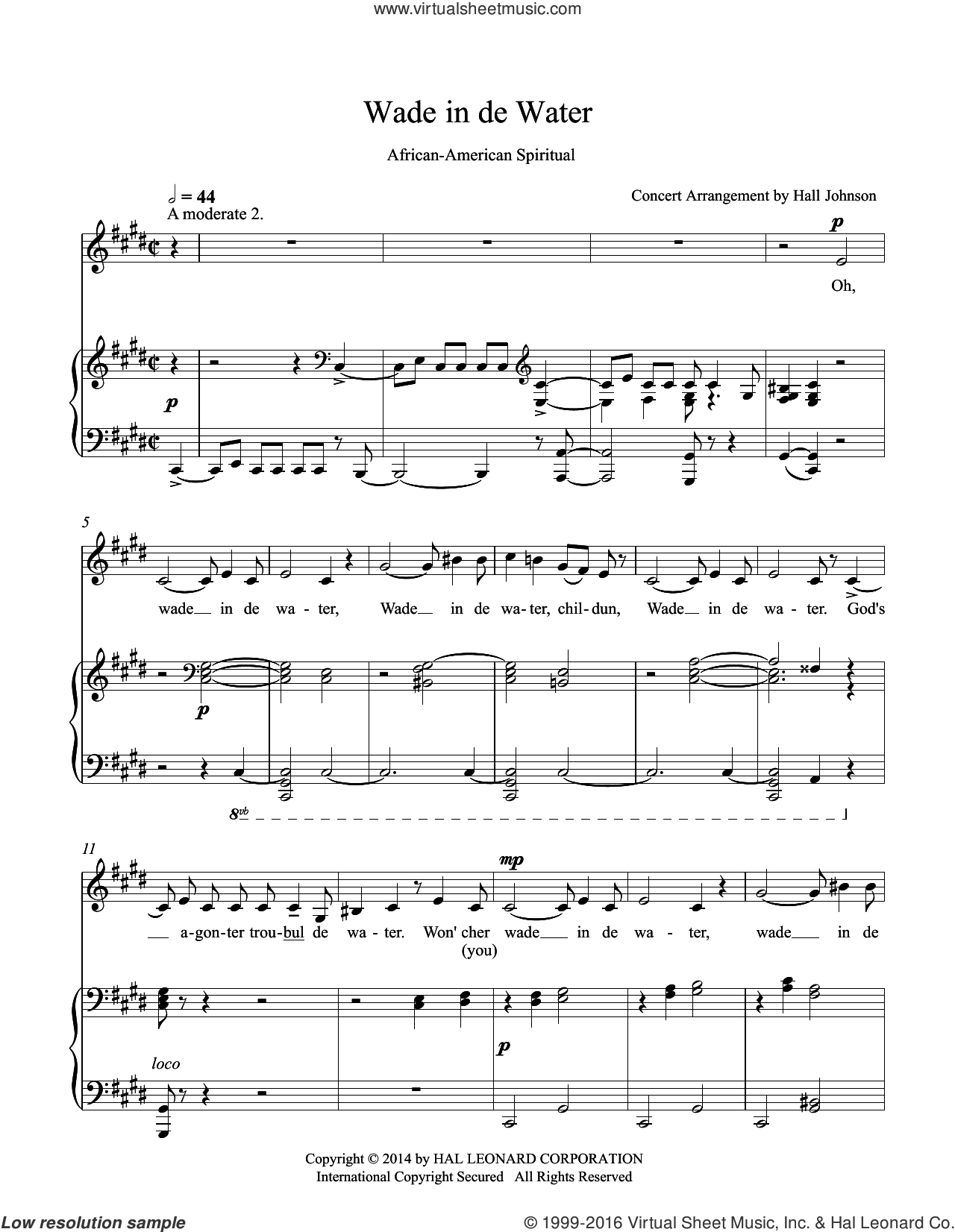 Wade in de Water (C-sharp minor) sheet music for voice and piano by Hall Johnson. Score Image Preview.