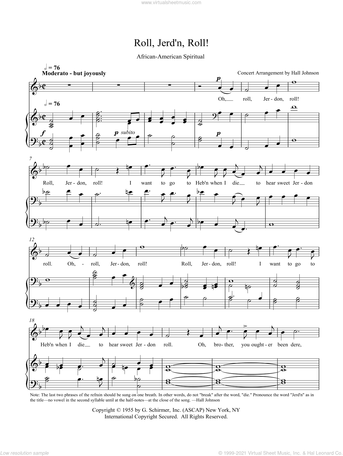 Roll, Jordan Roll (F) sheet music for voice and piano by Hall Johnson. Score Image Preview.
