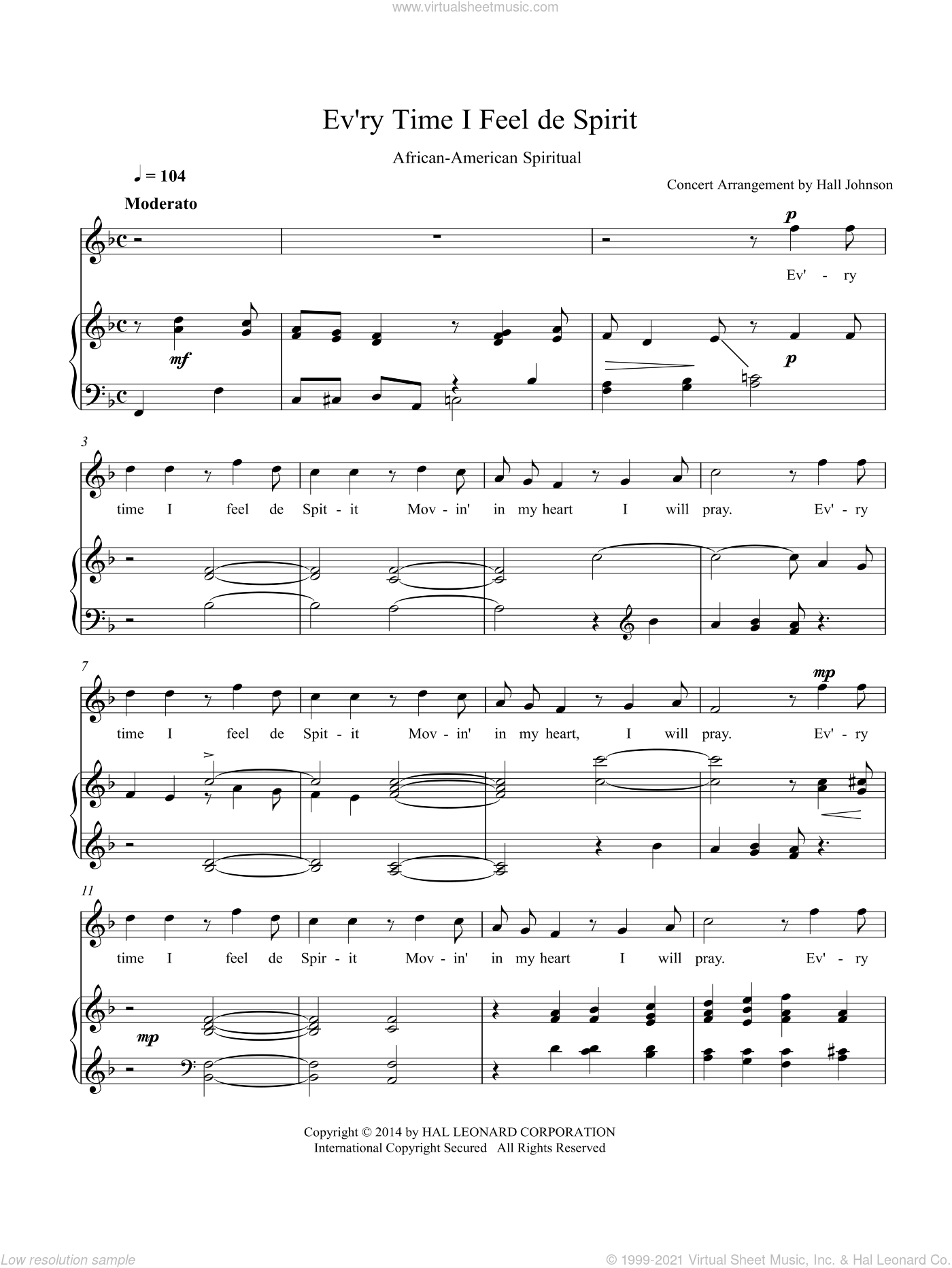 Ev'ry Time I Feel de Spirit (F) sheet music for voice and piano by Hall Johnson. Score Image Preview.