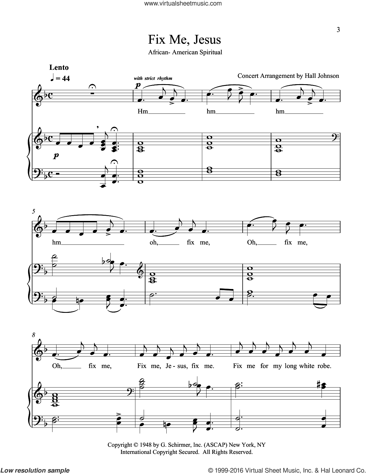 Fix Me, Jesus (F) sheet music for voice and piano by Hall Johnson, classical score, intermediate skill level