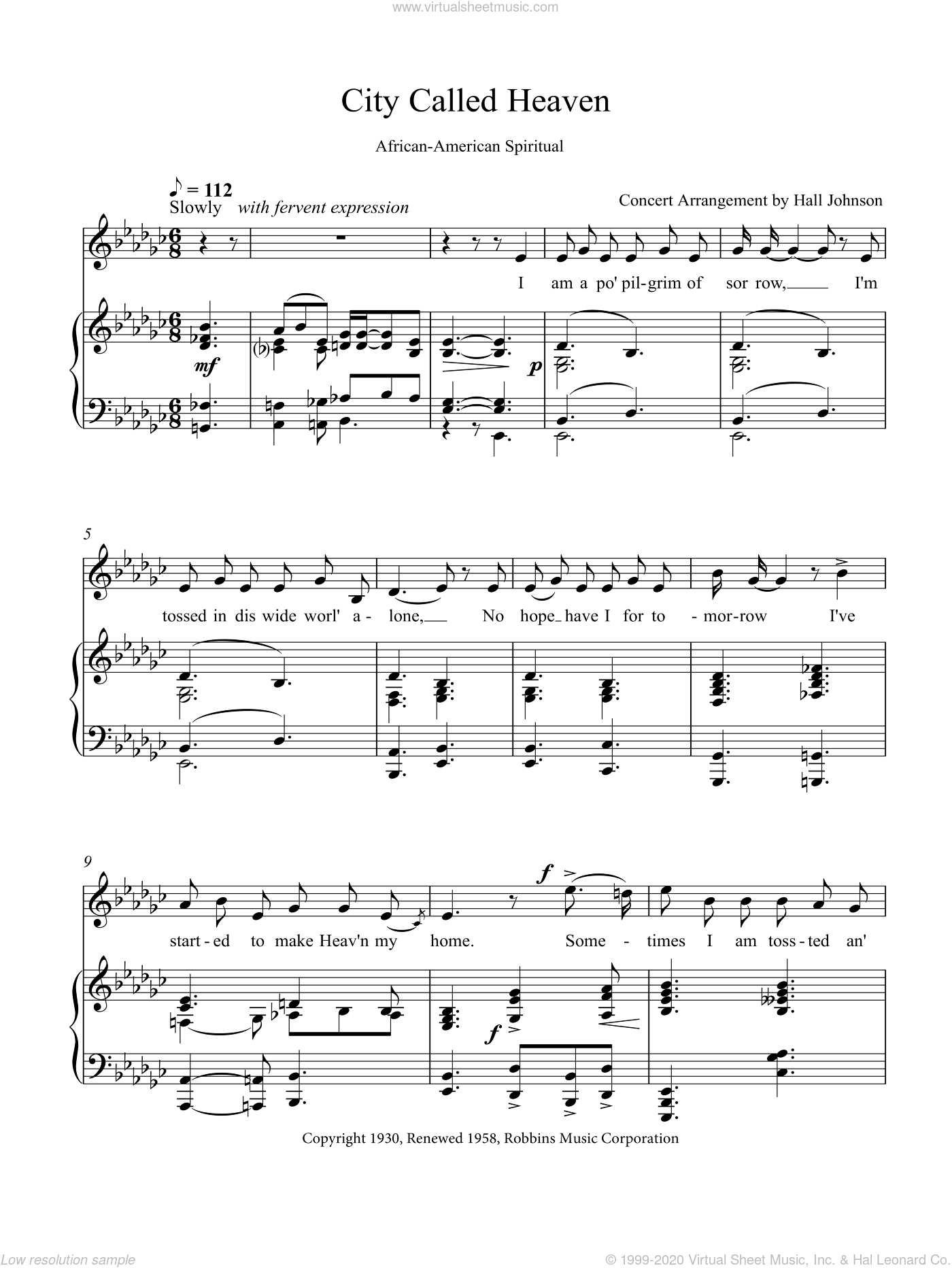 City Called Heaven (E-flat minor) sheet music for voice and piano by Hall Johnson, classical score, intermediate skill level