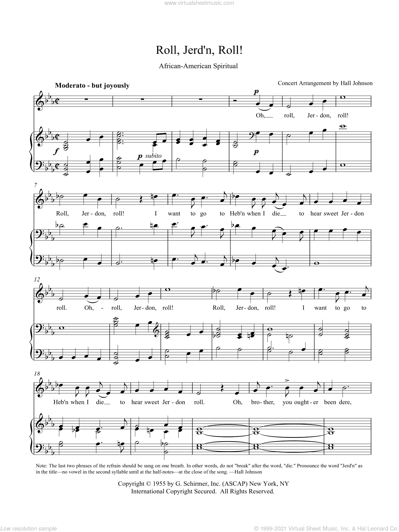 Roll, Jordan Roll (E-flat) sheet music for voice and piano by Hall Johnson. Score Image Preview.