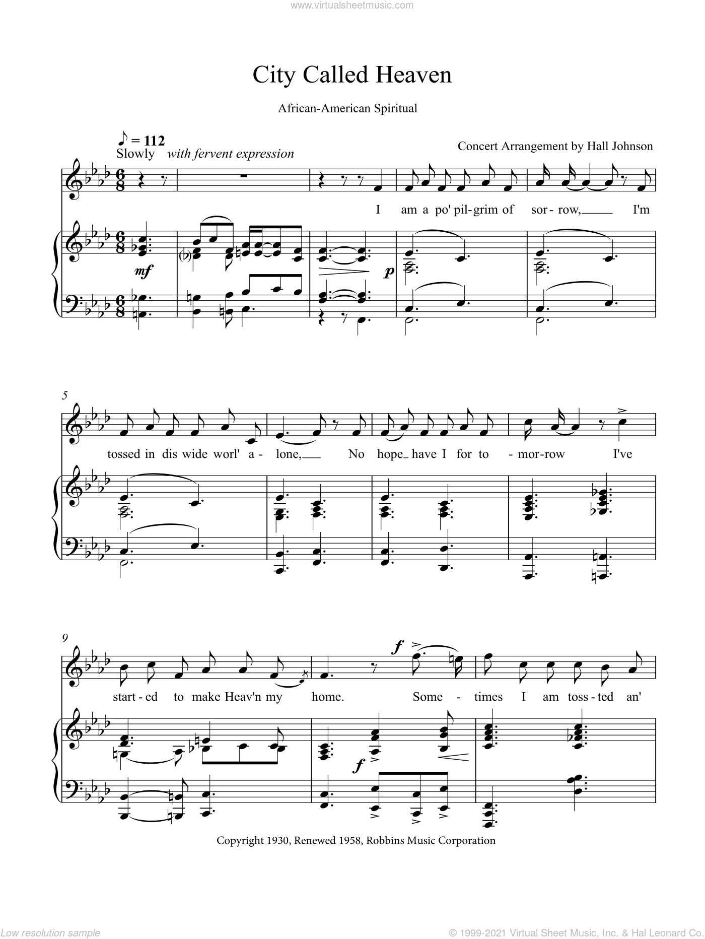 City Called Heaven (F minor) sheet music for voice and piano by Hall Johnson, classical score, intermediate voice. Score Image Preview.