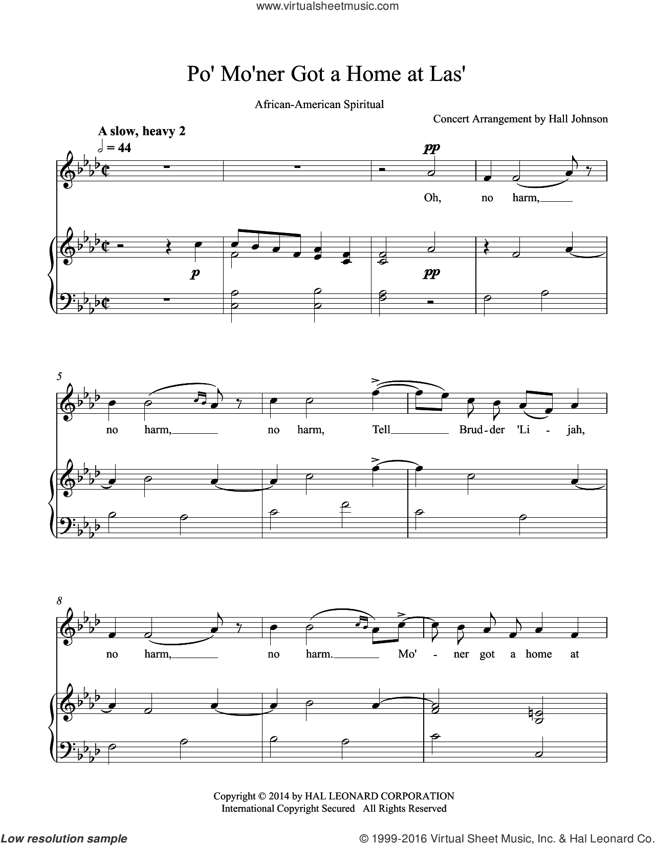 Po' Mo'ner Got a Home at Las' (F minor) sheet music for voice and piano by Hall Johnson, classical score, intermediate skill level