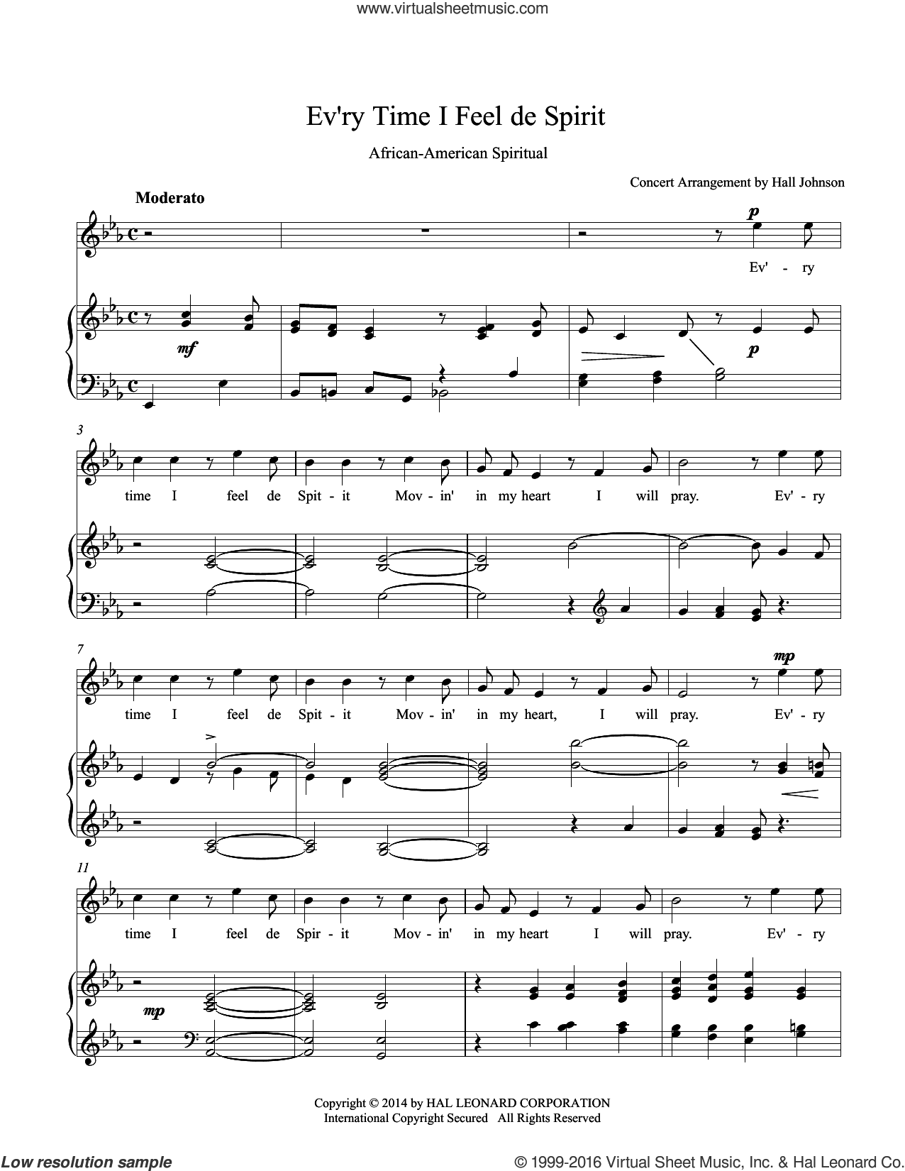 Ev'ry Time I Feel de Spirit (E-flat) sheet music for voice and piano by Hall Johnson. Score Image Preview.