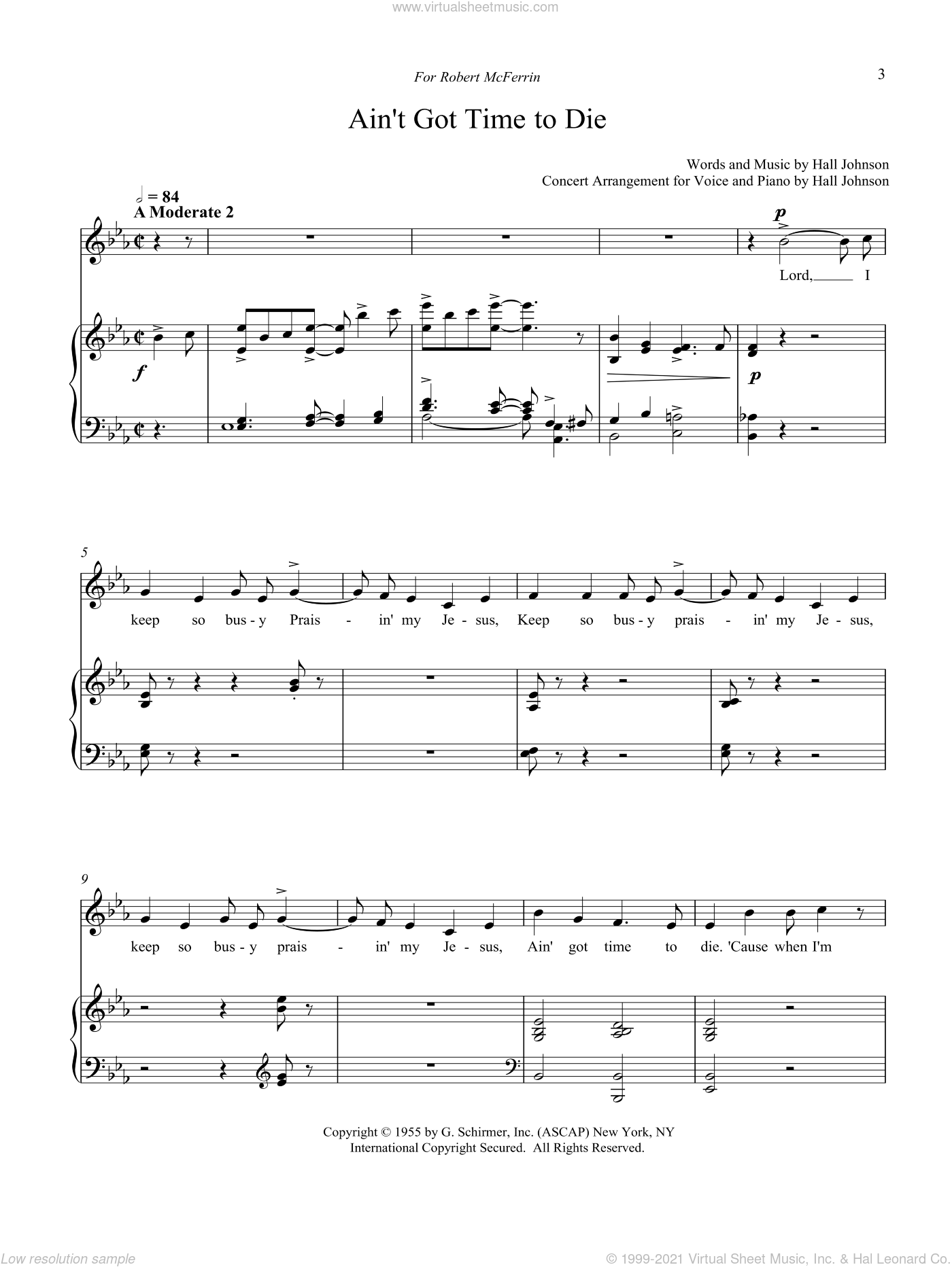 Ain't Got Time to Die (E-flat) sheet music for voice and piano by Hall Johnson, classical score, intermediate skill level
