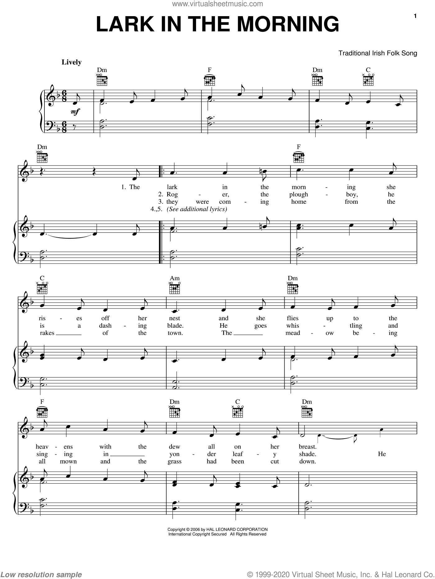 Lark In The Morning sheet music for voice, piano or guitar. Score Image Preview.