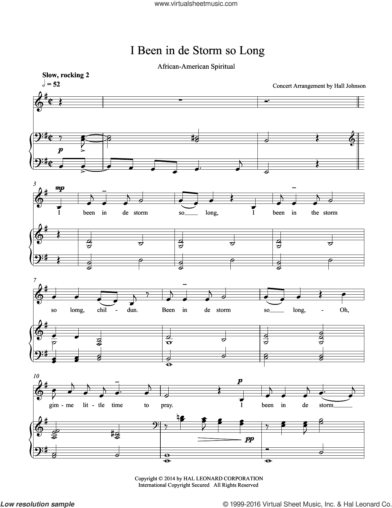 I Been in de Storm So Long (E minor) sheet music for voice and piano by Hall Johnson, classical score, intermediate. Score Image Preview.