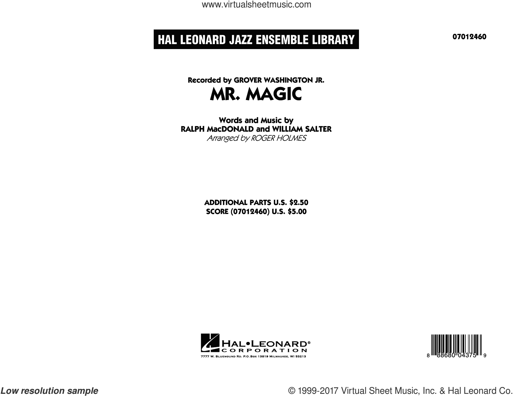 Mister Magic (Mr. Magic) (COMPLETE) sheet music for jazz band by Roger Holmes, Grover Washington Jr., Ralph MacDonald and William Salter, intermediate skill level