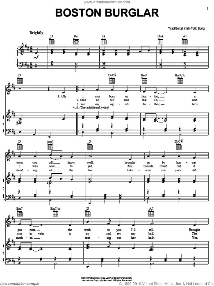 Boston Burglar sheet music for voice, piano or guitar, intermediate skill level