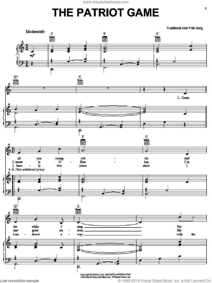 The Patriot Game sheet music for voice, piano or guitar, intermediate skill level