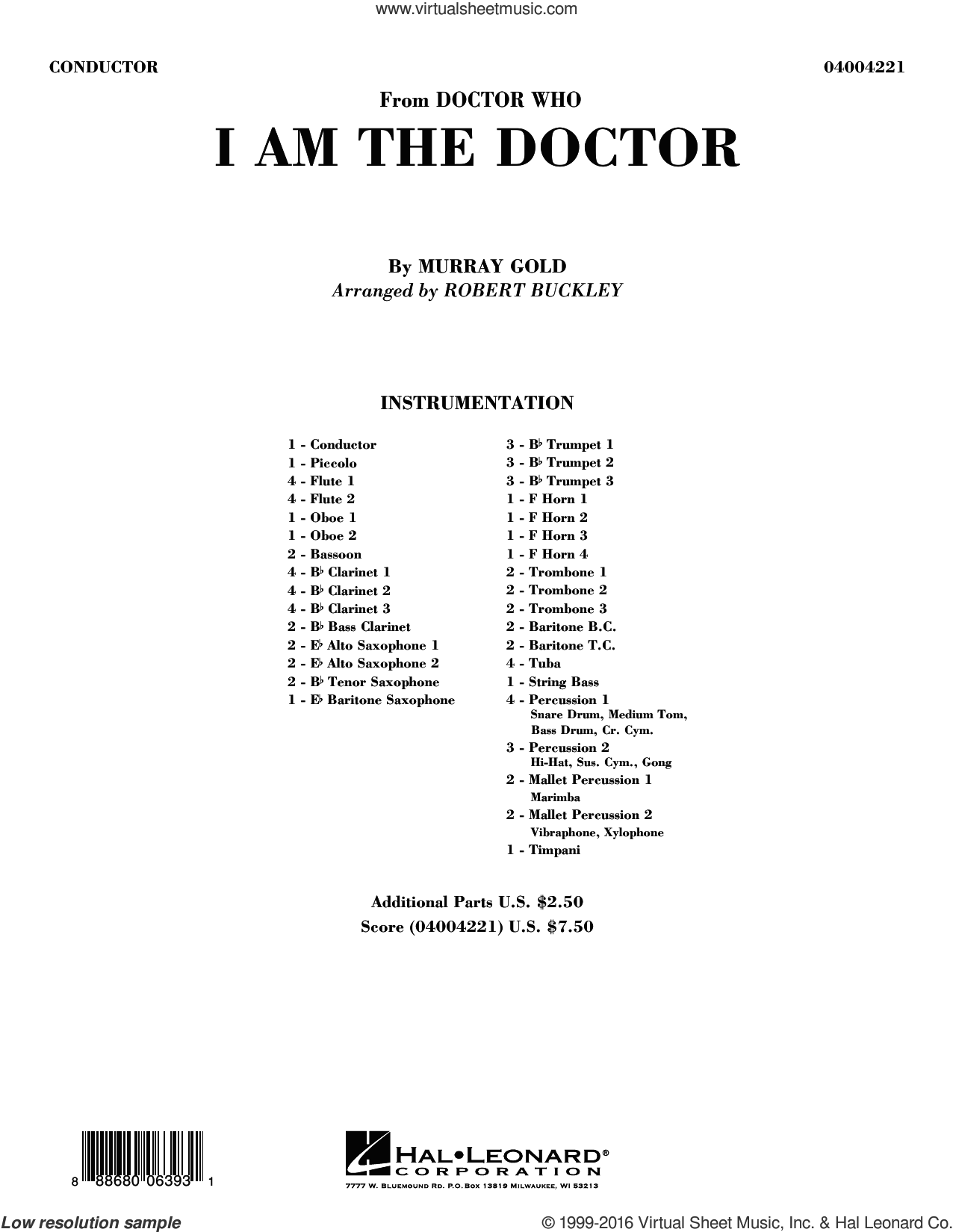 I Am the Doctor (from Doctor Who) (COMPLETE) sheet music for concert band by Robert Buckley and Murray Gold, intermediate