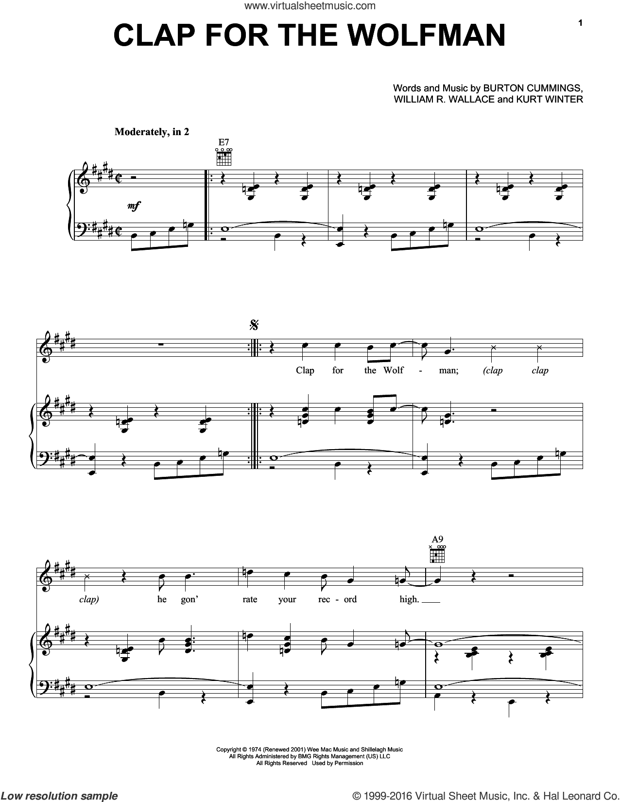 Clap For The Wolfman sheet music for voice, piano or guitar by The Guess Who, Burton Cummings, Kurt Winter and William R. Wallace, intermediate skill level