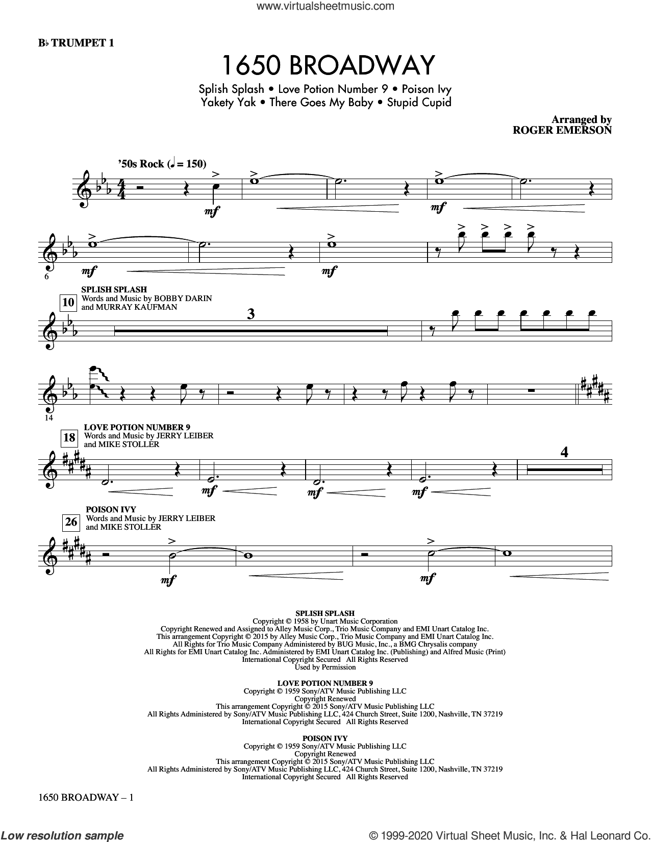 1650 Broadway (complete set of parts) sheet music for orchestra/band by Roger Emerson, Jerry Leiber, Mike Stoller and The Searchers, intermediate skill level