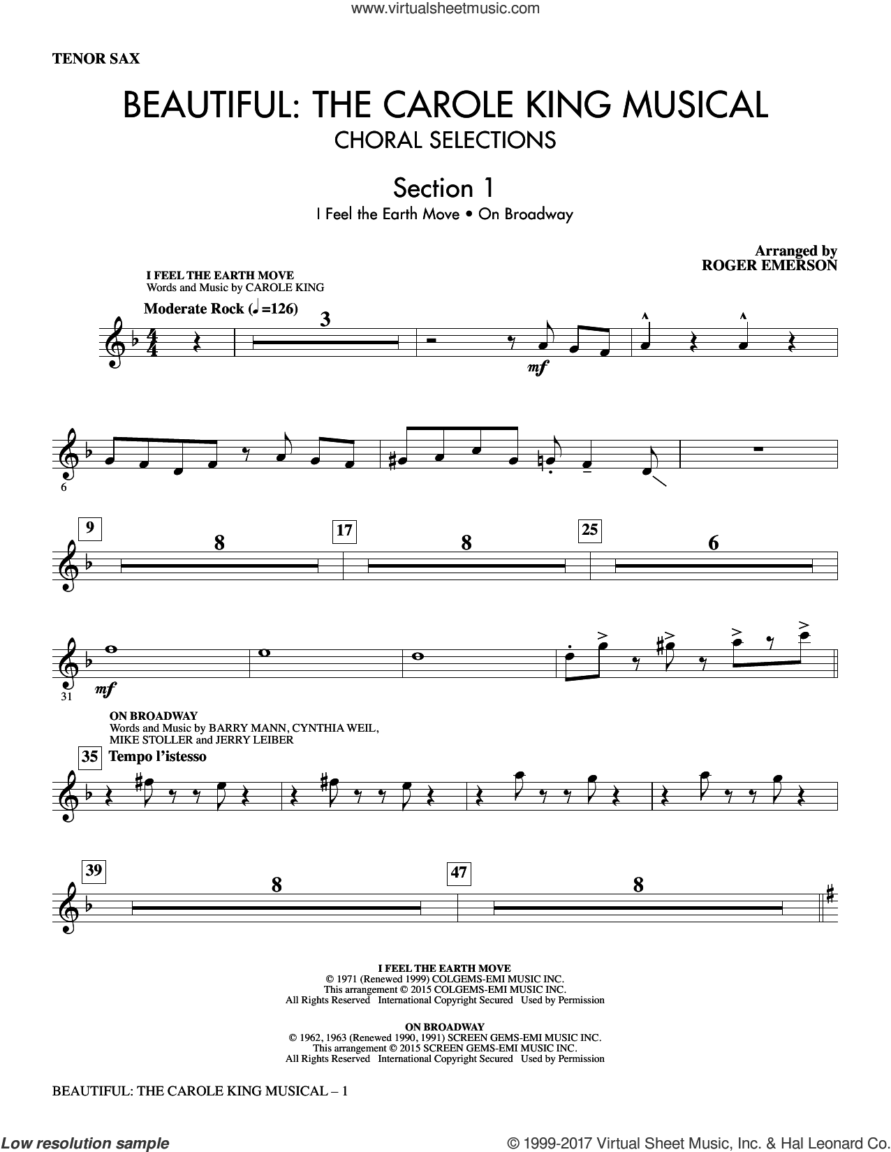 Beautiful: The Carole King Musical (Choral Selections) (complete set of parts) sheet music for orchestra/band by Roger Emerson and Carole King, wedding score, intermediate. Score Image Preview.