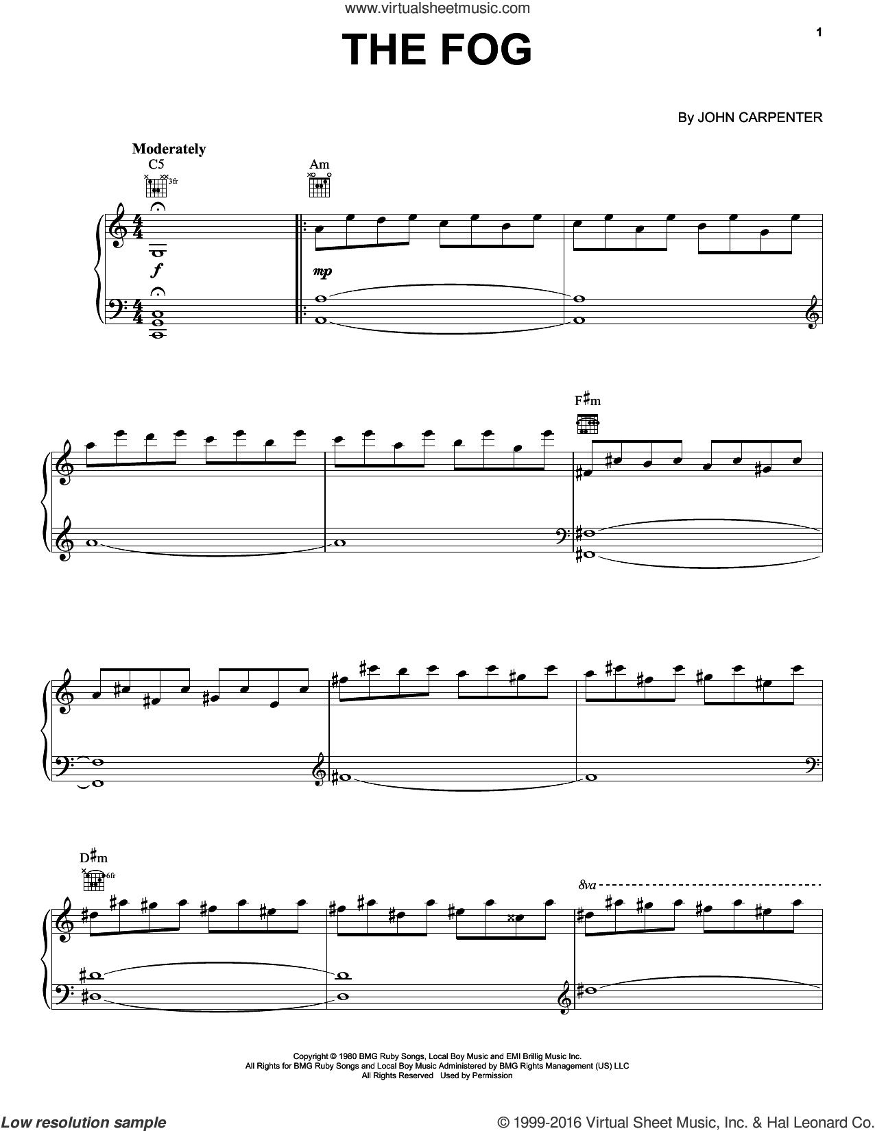 The Fog sheet music for piano solo by John Carpenter, intermediate skill level