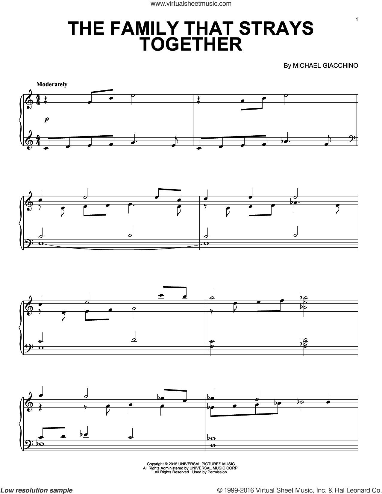 The Family That Strays Together from Jurassic World sheet music for piano solo by Michael Giacchino, classical score, intermediate