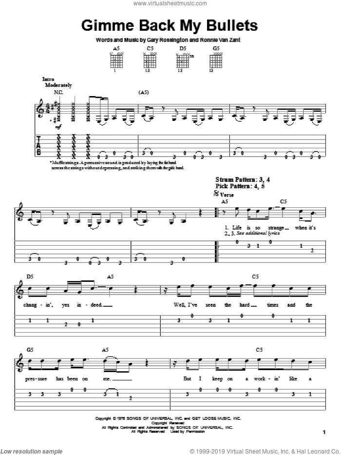 Gimme Back My Bullets sheet music for guitar solo (easy tablature) by Lynyrd Skynyrd, Ronnie Van Zant and Gary Rossington, easy guitar (easy tablature)
