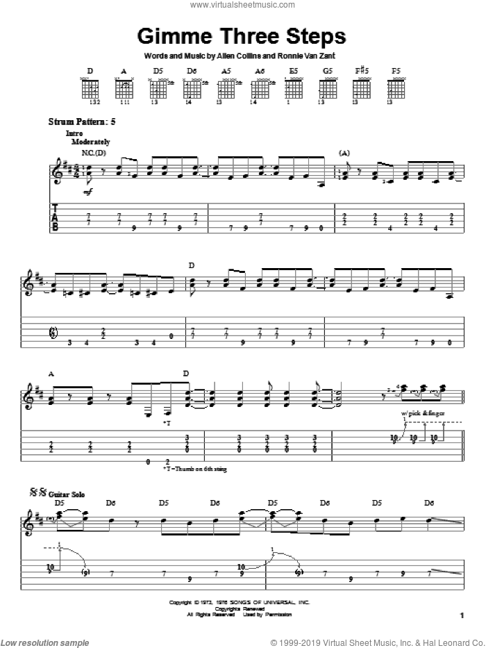 Gimme Three Steps sheet music for guitar solo (easy tablature) by Lynyrd Skynyrd, Allen Collins and Ronnie Van Zant, easy guitar (easy tablature)