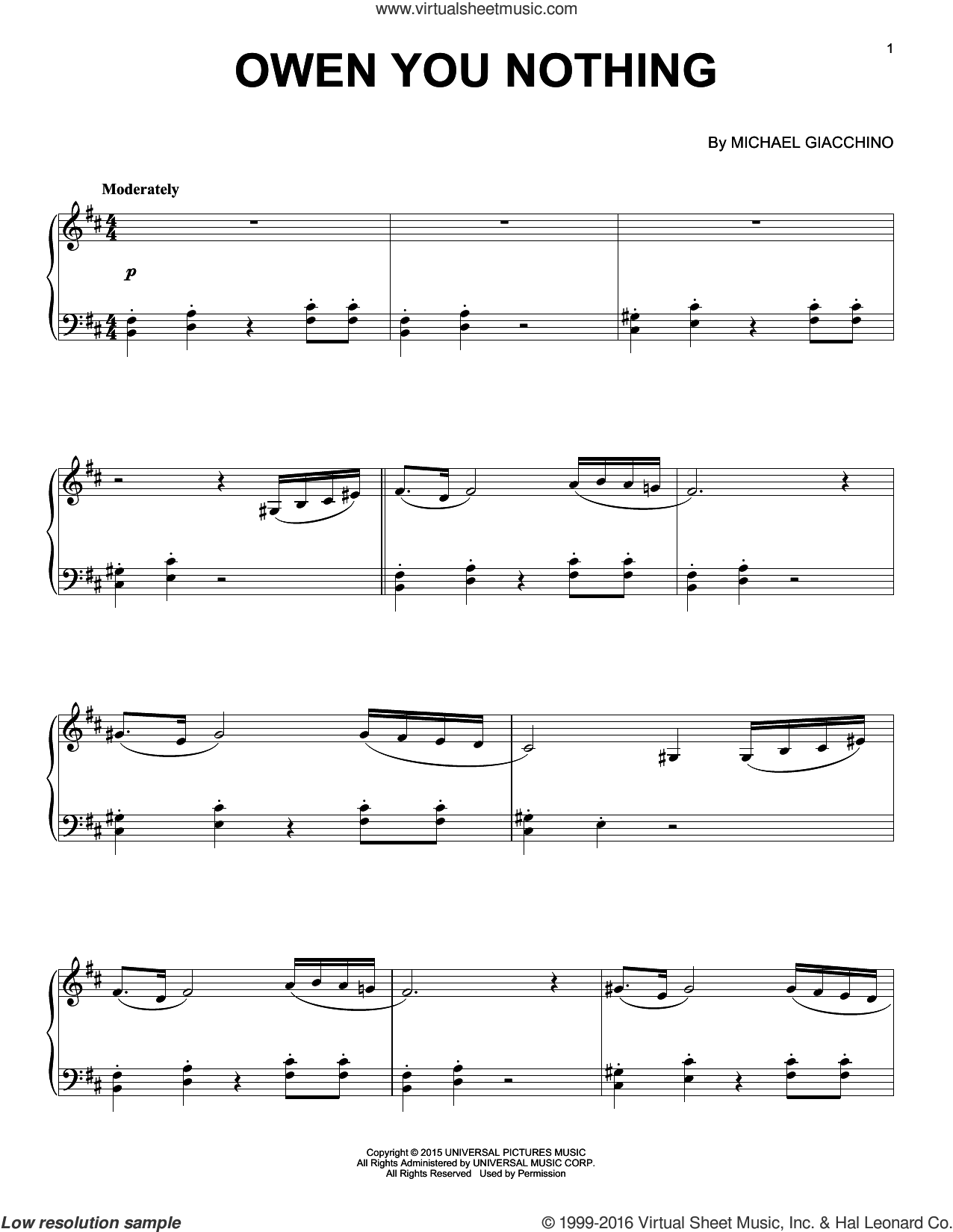 Owen You Nothing from Jurassic World sheet music for piano solo by Michael Giacchino. Score Image Preview.