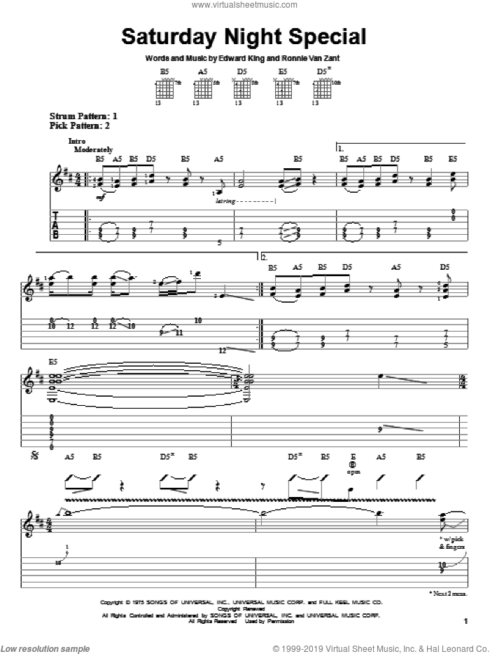 Saturday Night Special sheet music for guitar solo (easy tablature) by Ronnie Van Zant, Lynyrd Skynyrd and Edward King. Score Image Preview.