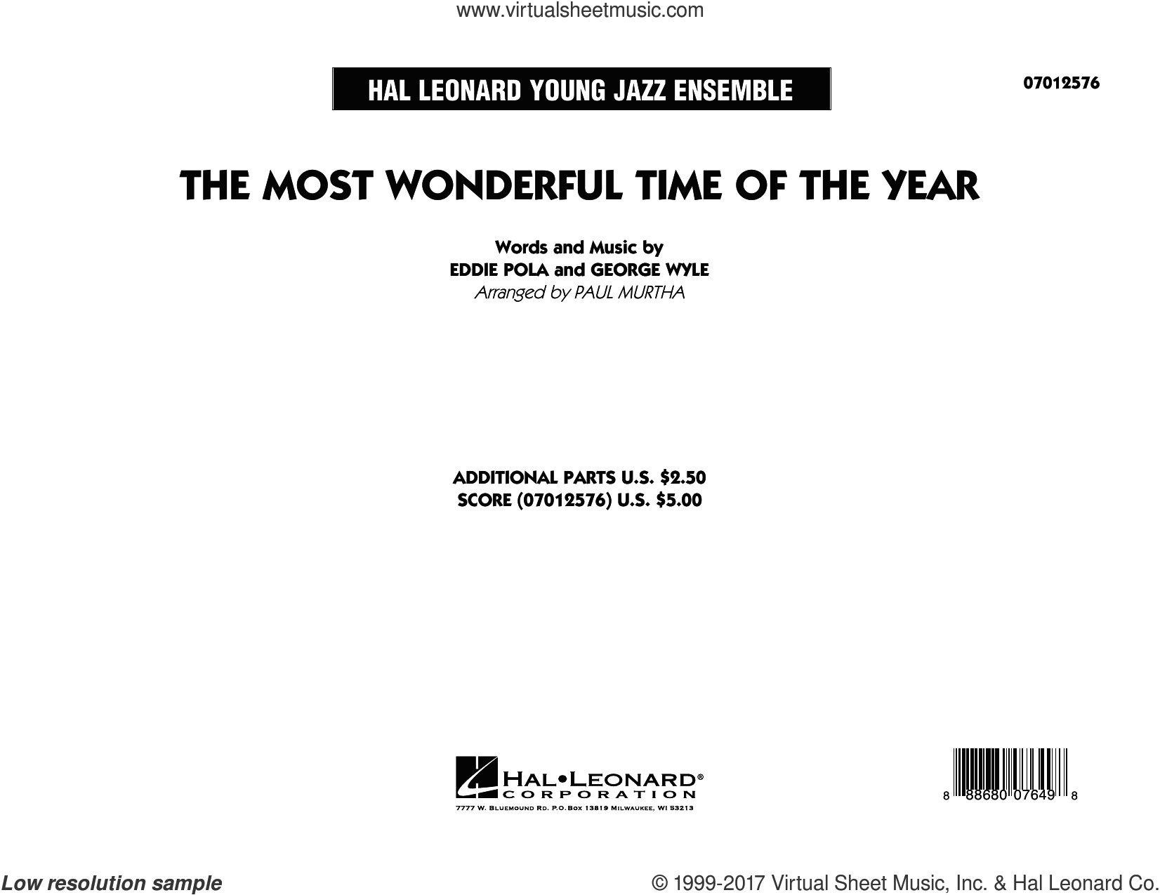 The Most Wonderful Time of the Year (COMPLETE) sheet music for jazz band by Paul Murtha, Eddie Pola and George Wyle, Christmas carol score, intermediate jazz band. Score Image Preview.