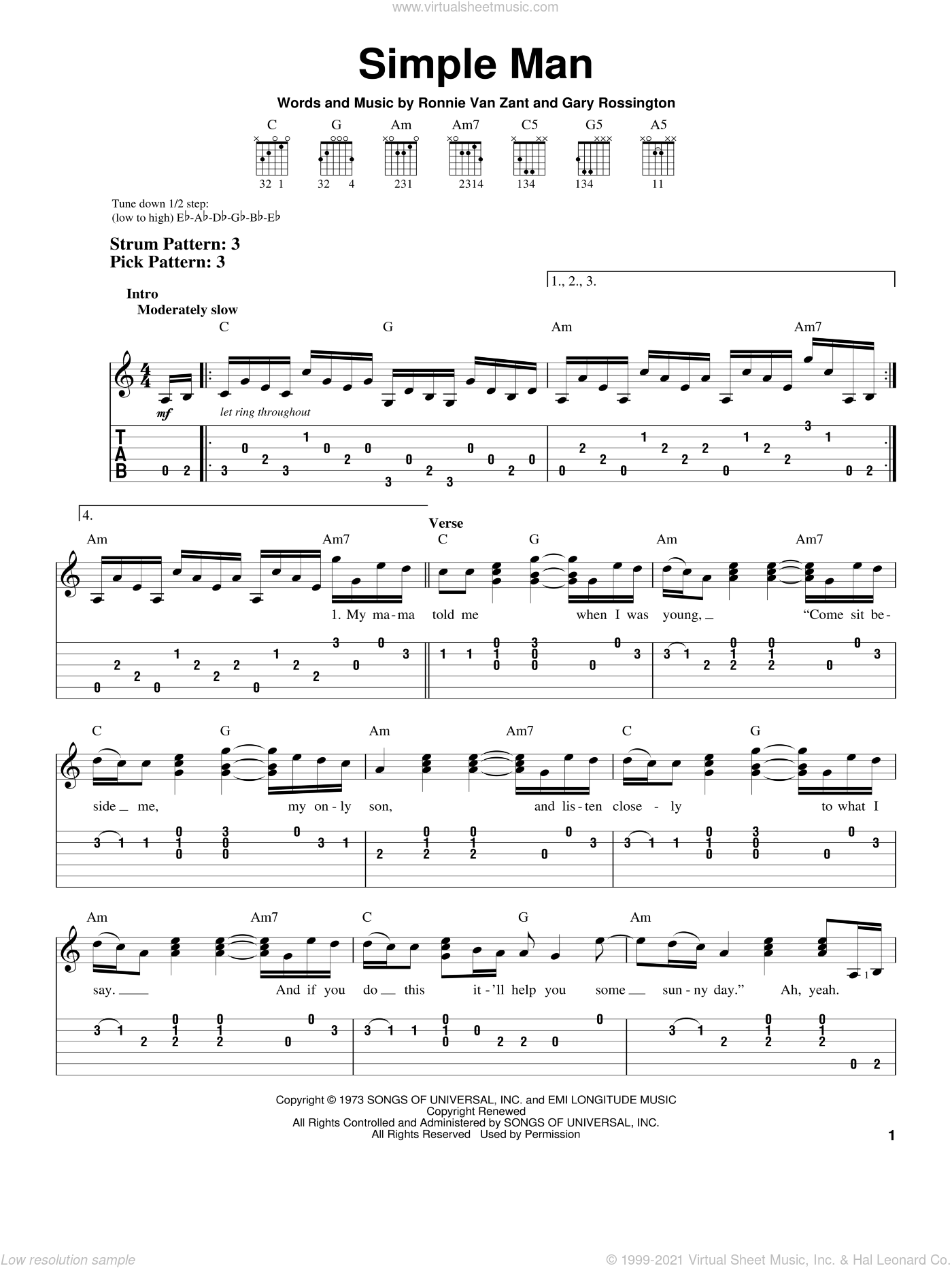 Simple Man sheet music for guitar solo (easy tablature) by Lynyrd Skynyrd, Shinedown, Gary Rossington and Ronnie Van Zant, easy guitar (easy tablature)