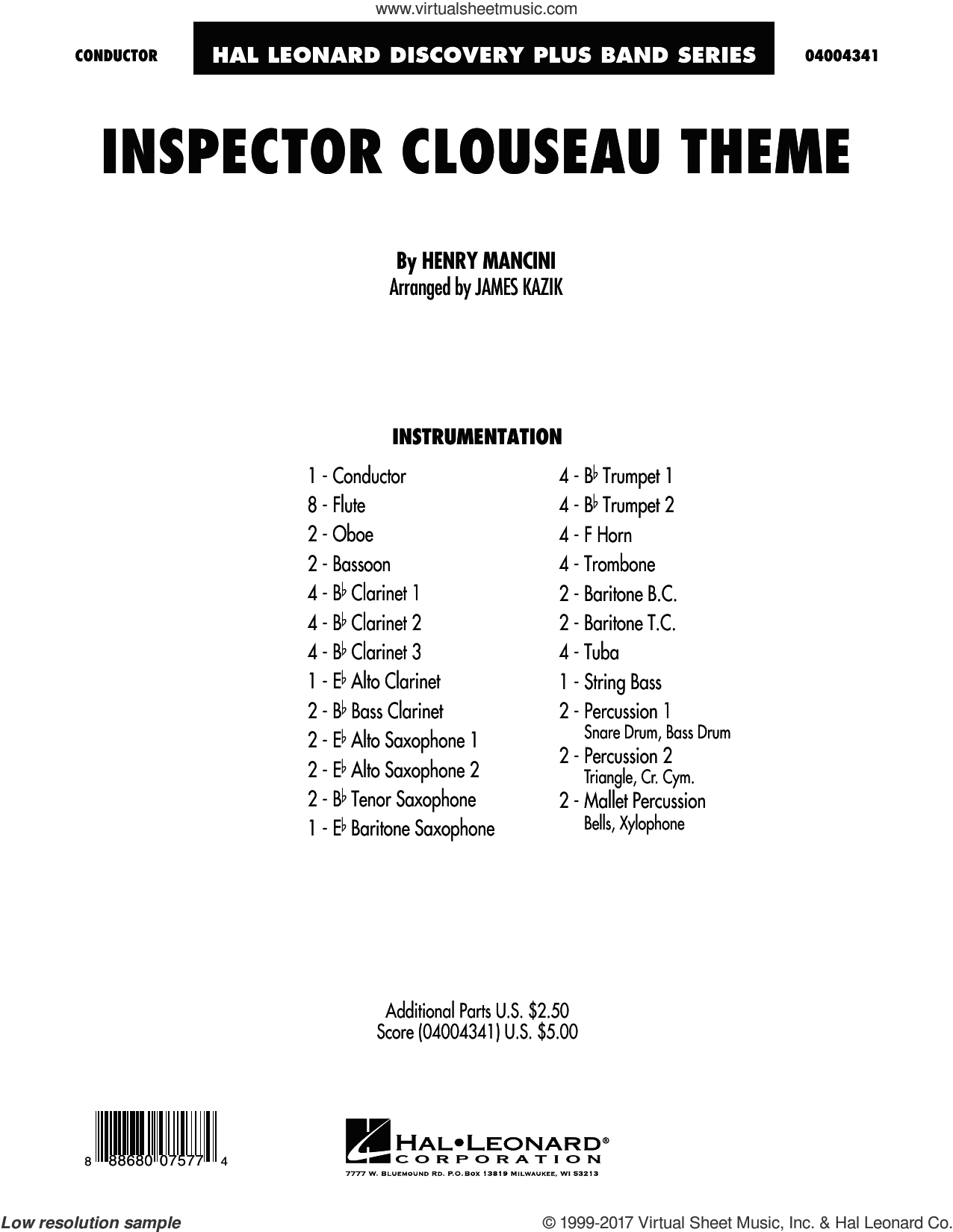 Inspector Clouseau Theme (from The Pink Panther Strikes Again) (COMPLETE) sheet music for concert band by Henry Mancini and James Kazik, intermediate skill level