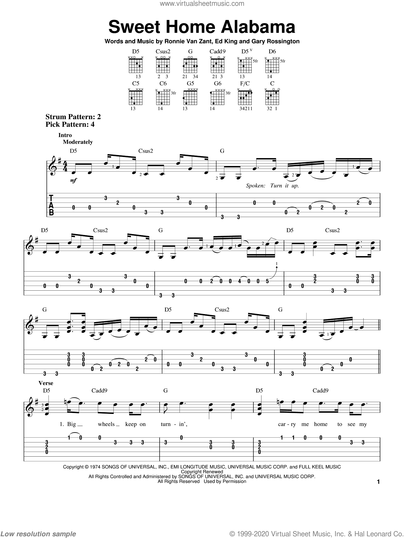 Sweet Home Alabama sheet music for guitar solo (easy tablature) by Ronnie Van Zant, Lynyrd Skynyrd, Edward King and Gary Rossington. Score Image Preview.