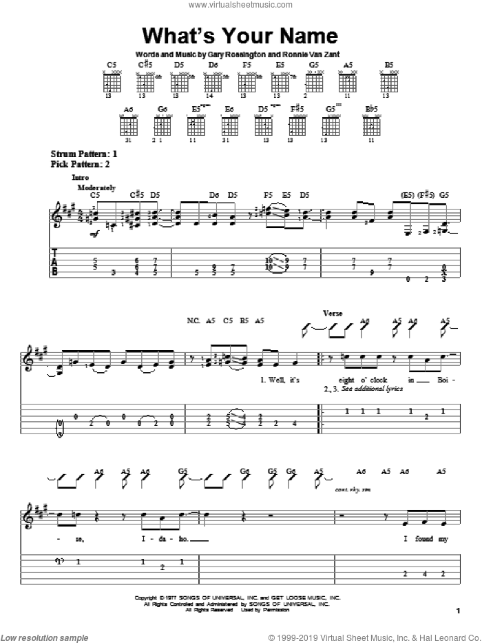 What's Your Name sheet music for guitar solo (easy tablature) by Lynyrd Skynyrd, Gary Rossington and Ronnie Van Zant, easy guitar (easy tablature)