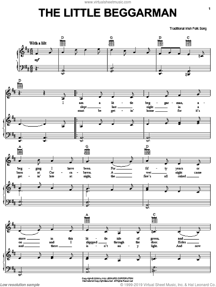 The Little Beggarman sheet music for voice, piano or guitar, intermediate skill level