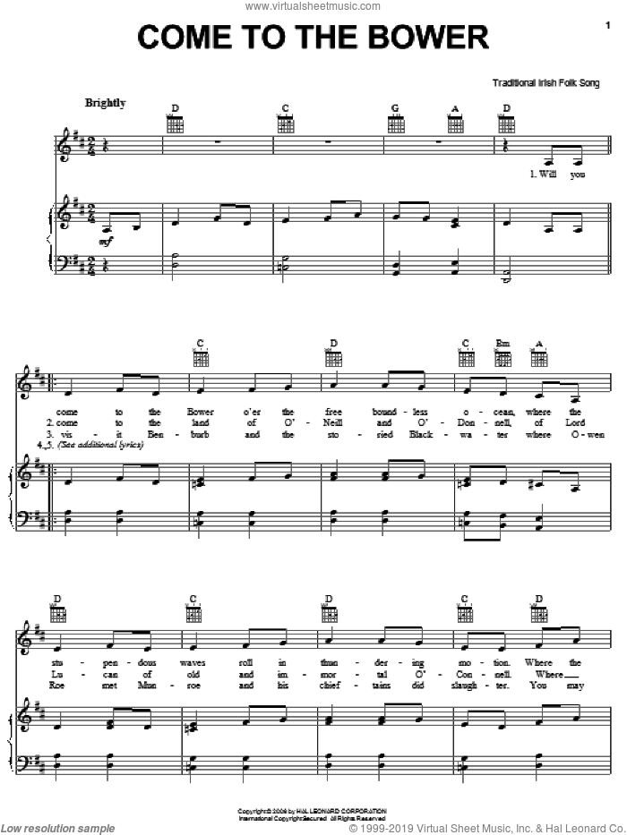 Come To The Bower sheet music for voice, piano or guitar. Score Image Preview.