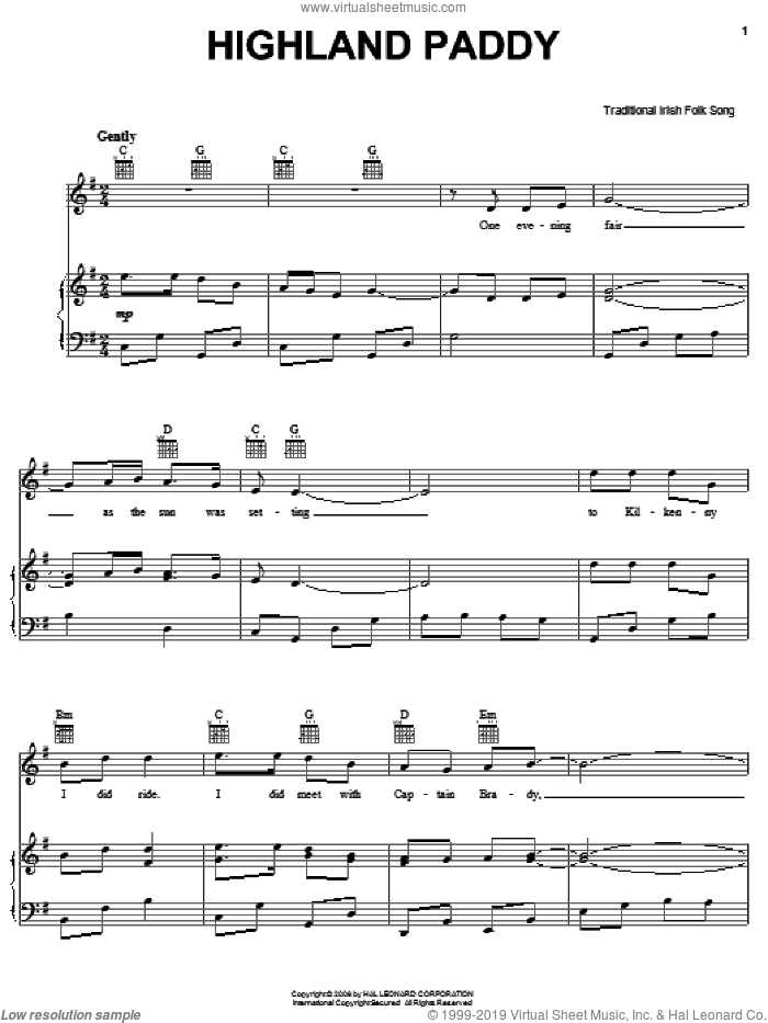 Highland Paddy sheet music for voice, piano or guitar, intermediate skill level