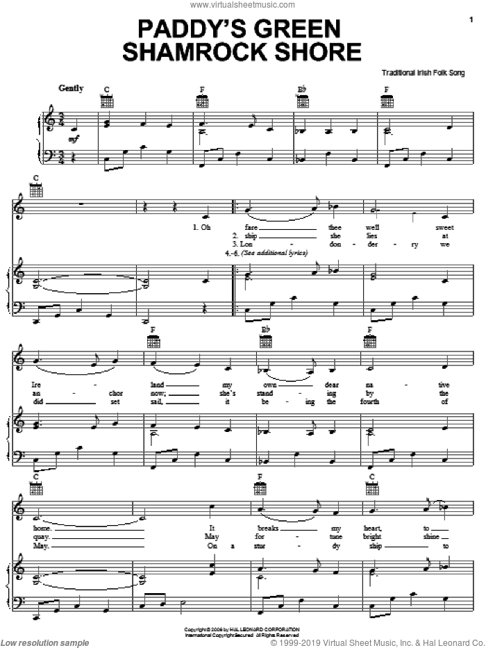Paddy's Green Shamrock Shore sheet music for voice, piano or guitar, intermediate skill level