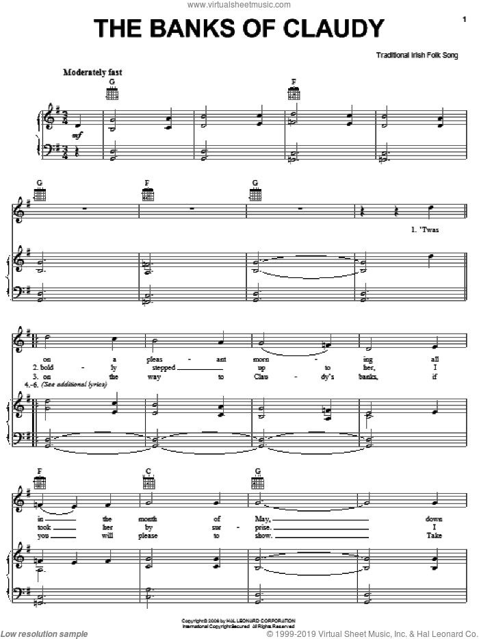 The Banks Of Claudy sheet music for voice, piano or guitar, intermediate. Score Image Preview.
