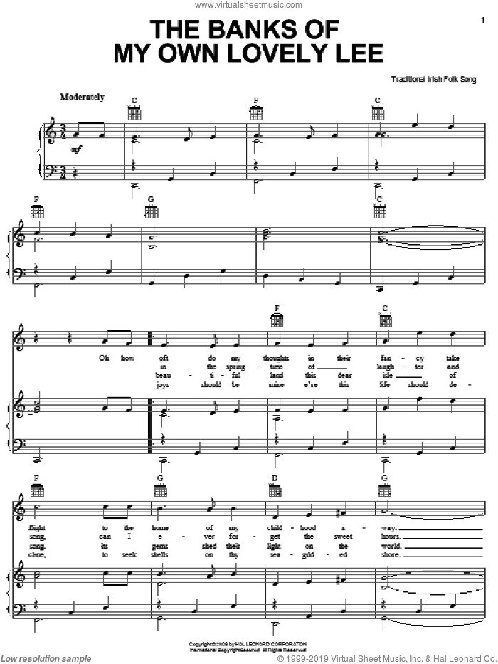 The Banks Of My Own Lovely Lee sheet music for voice, piano or guitar, intermediate voice, piano or guitar. Score Image Preview.